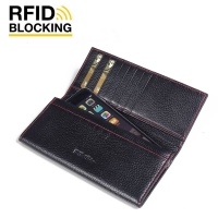 Continental Leather RFID Blocking Wallet Case for Apple iPhone 6 Plus | iPhone 6s Plus (Black Pebble Leather/Red Stitch)