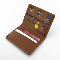 Luxury SD/MicroSD/SIM Leather Card Wallet (Brown)