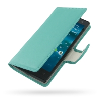 Acer Liquid E3 Leather Flip Carry Cover (Aqua) PDair Premium Hadmade Genuine Leather Protective Case Sleeve Wallet