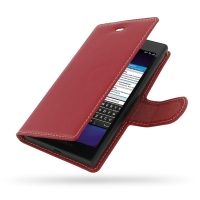 Deluxe Leather Book Case for BlackBerry Z3 (Red)