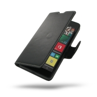 Microsoft Lumia 640 LTE Leather Flip Carry Cover PDair Premium Hadmade Genuine Leather Protective Case Sleeve Wallet