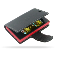 Nokia Asha 503 Leather Flip Carry Cover PDair Premium Hadmade Genuine Leather Protective Case Sleeve Wallet