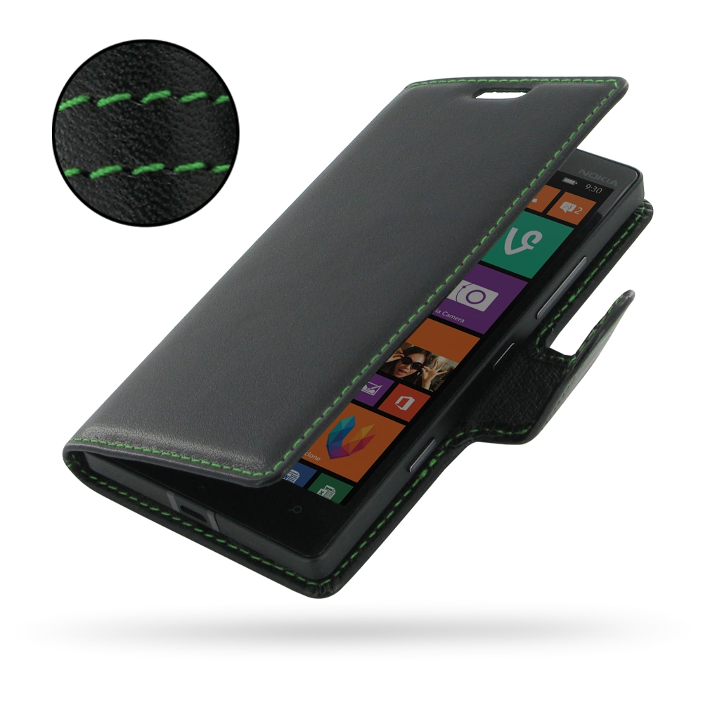 low priced 25227 a8c1b Deluxe Leather Book Case for Nokia Lumia 930 (Green Stitch)