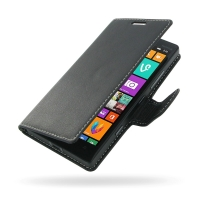 Nokia Lumia 930 Leather Flip Carry Cover PDair Premium Hadmade Genuine Leather Protective Case Sleeve Wallet