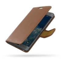 Samsung Galaxy Note Edge Leather Flip Carry Cover (Brown) PDair Premium Hadmade Genuine Leather Protective Case Sleeve Wallet