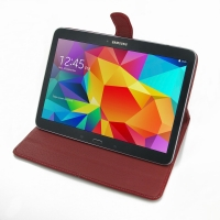 Samsung Galaxy Tab 4 10.1 Leather Flip Carry Cover (Red) PDair Premium Hadmade Genuine Leather Protective Case Sleeve Wallet
