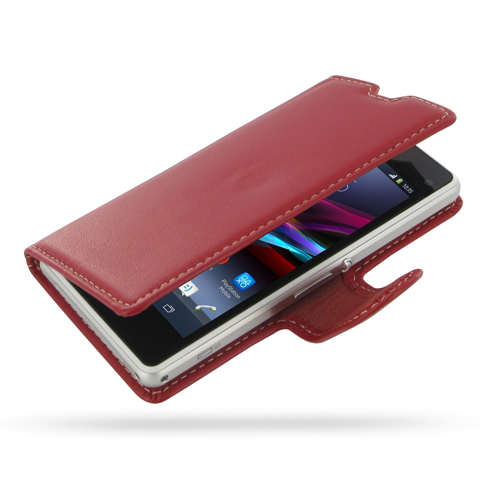 Sony Xperia Z1 Compact Leather Flip Carry Cover RedXperia Z1 Protective Case