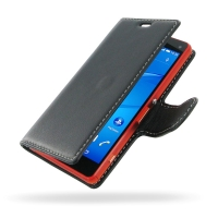 Sony Xperia Z3 Compact Leather Flip Carry Cover PDair Premium Hadmade Genuine Leather Protective Case Sleeve Wallet