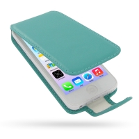 Deluxe Leather Flip Case for Apple iPhone 5c (Aqua)