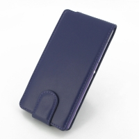 Sony Xperia Z2 Leather Flip Carry Case (Purple) PDair Premium Hadmade Genuine Leather Protective Case Sleeve Wallet