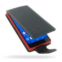 Sony Xperia Z3 Compact Leather Flip Carry Case PDair Premium Hadmade Genuine Leather Protective Case Sleeve Wallet