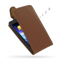 Acer Liquid E700 Leather Flip Top Carry Case (Brown) PDair Premium Hadmade Genuine Leather Protective Case Sleeve Wallet