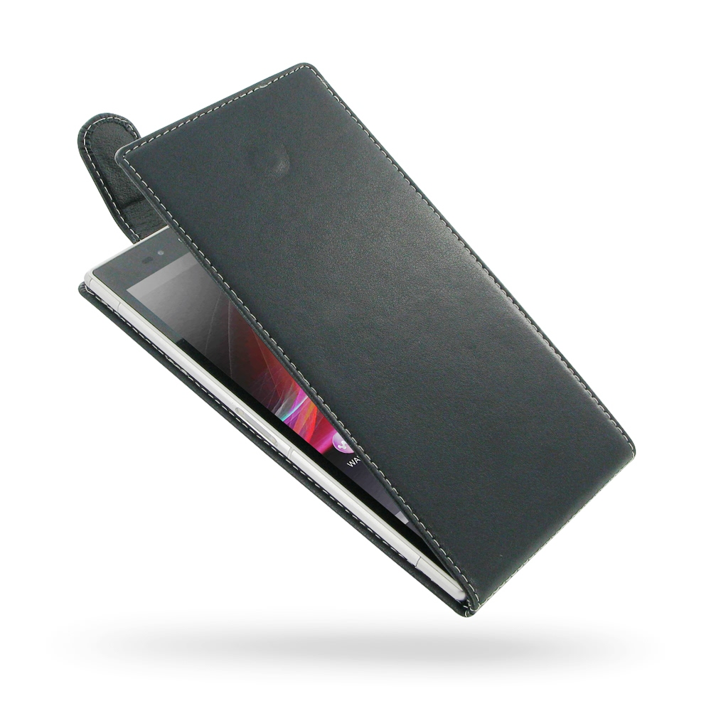 Sony Xperia Z Ultra Leather Flip Top Carry Case PDair Premium Hadmade Genuine Leather Protective Case Sleeve Wallet