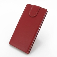 Sony Xperia Z2 Leather Flip Top Carry Case (Red) PDair Premium Hadmade Genuine Leather Protective Case Sleeve Wallet