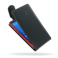 Sony Xperia Z3 Compact Leather Flip Top Carry Case PDair Premium Hadmade Genuine Leather Protective Case Sleeve Wallet