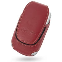 Deluxe Leather Pouch Case for HP iPAQ rw6800 Series (Large/Red)