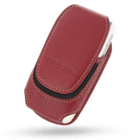 Deluxe Leather Pouch Case for Motorola E680 E680i (Large/Red)