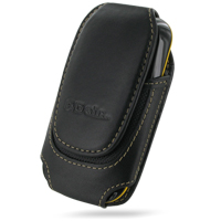 Deluxe Leather Pouch Case for Samsung B3210 CorbyTXT (Large/Black)