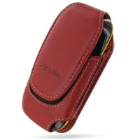 Deluxe Leather Pouch Case for Samsung B3210 CorbyTXT (Large/Red)