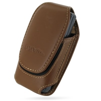 Deluxe Leather Pouch Case for Samsung C6112 (Large/Brown)