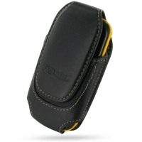 Deluxe Leather Pouch Case for Samsung Corby II S3850 (Large/Black)