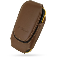 Deluxe Leather Pouch Case for Samsung Corby II S3850 (Large/Brown)