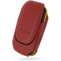 Deluxe Leather Pouch Case for Samsung Corby II S3850 (Large/Red)