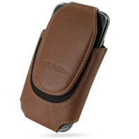 Samsung Galaxy S / Plus Sleeve Leather Pouch Case (Extra Large/Brown) PDair Premium Hadmade Genuine Leather Protective Case Sleeve Wallet