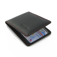 Driving license Leather Case (Black Pebble Leather/Red Stitch)