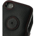 iPhone 4 4s Leather Flip Cover (Snap Button) (Red Stitching) protective carrying case by PDair