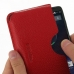 Motorola DROID Turbo Leather Wallet Sleeve Case (Red Pebble Leather) genuine leather case by PDair
