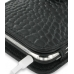 iPhone 3G 3Gs Leather Flip Cover (Black Croc) genuine leather case by PDair