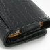 iPhone 4 4s Leather Wallet Case (Black Croc Pattern) protective carrying case by PDair