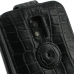 Samsung Galaxy S2 Epic Leather Flip Top Case (Black Croc Pattern) protective carrying case by PDair