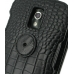 Samsung Galaxy Nexus Leather Flip Top Case (Black Croc Pattern) protective carrying case by PDair