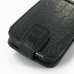 Samsung Galaxy Ace Plus Leather Flip Top Case (Black Croc Pattern) handmade leather case by PDair