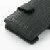 Sony Xperia Ion Leather Flip Cover (Black Croc) handmade leather case by PDair