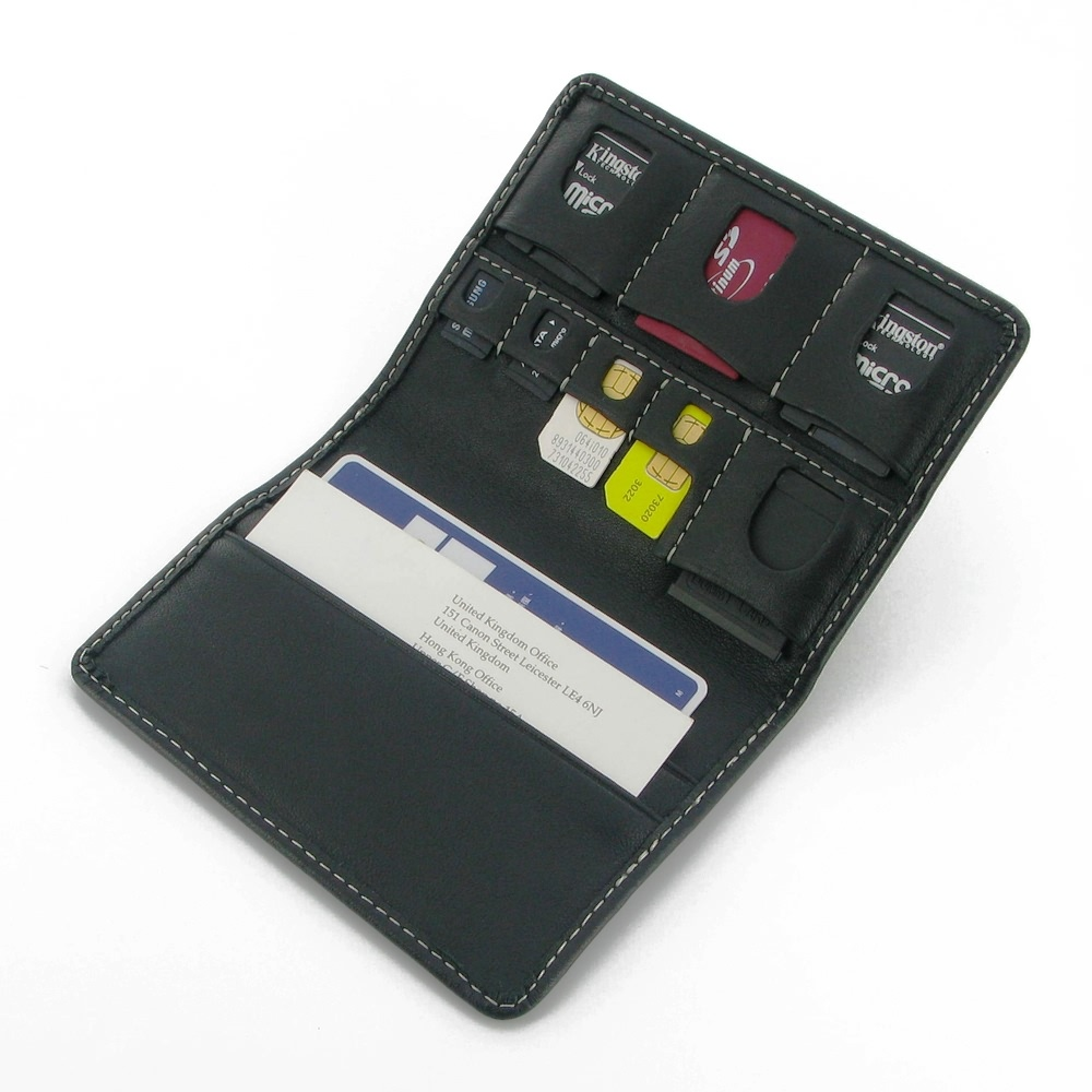 Memory SD / Micro SD / SIM Card Leather Wallet Case PDair Premium Hadmade Genuine Leather Protective Case Sleeve Wallet