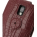 Samsung Galaxy S2 T989 Leather Flip Top Case (Red Croc Pattern) protective carrying case by PDair