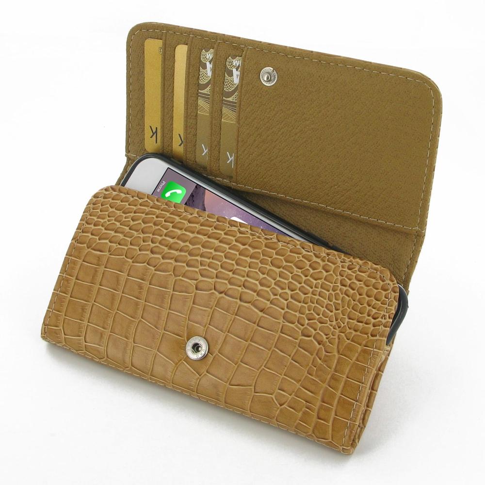 iphone 6 6s leather wallet case brown croc pattern. Black Bedroom Furniture Sets. Home Design Ideas
