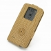 LG G3 Leather Flip Top Case (Brown Croc Pattern) custom degsined carrying case by PDair