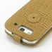 Samsung Galaxy S3 Leather Flip Top Case (Brown Croc Pattern) protective carrying case by PDair