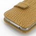 Samsung Galaxy S4 Leather Flip Cover (Brown Croc) protective carrying case by PDair