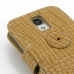 Samsung Galaxy S4 Leather Flip Cover (Brown Croc) handmade leather case by PDair