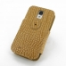 Samsung Galaxy S4 Leather Flip Cover (Brown Croc) custom degsined carrying case by PDair