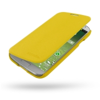 Casual Folio Cover Case for Samsung Galaxy S4 SIV LTE GT-i9500 GT-i9505 (Yellow)