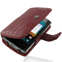 Acer Liquid Metal S120 Leather Flip Cover (Red Croc) PDair Premium Hadmade Genuine Leather Protective Case Sleeve Wallet