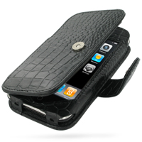 Leather Book Case for Apple iPhone 3G | iPhone 3Gs (Black Crocodile Pattern)