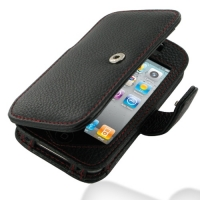 Leather Book Case for Apple iPhone 4 | iPhone 4s (Snap Button) (Black Pebble Leather/Red Stitch)