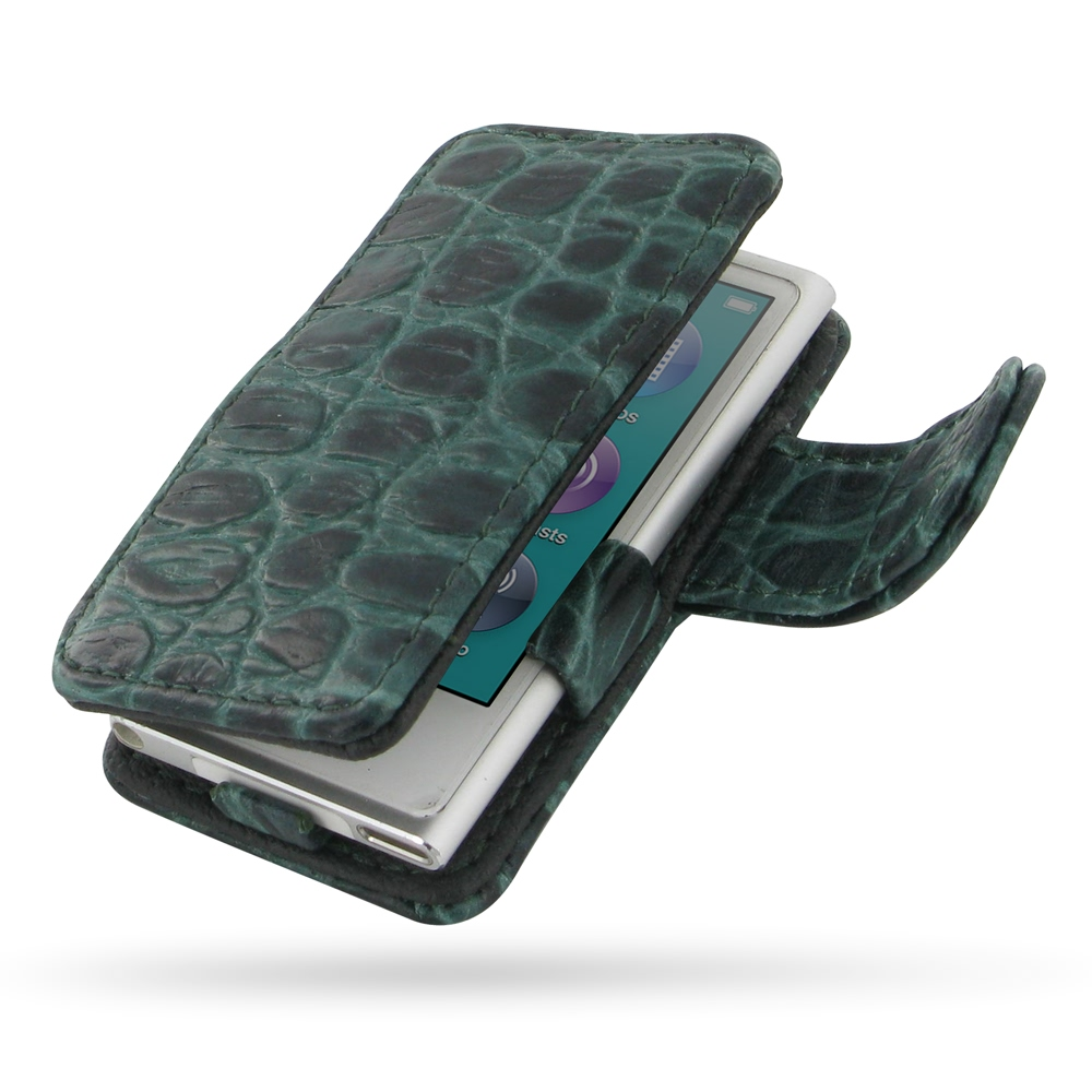 10% OFF + FREE SHIPPING, Buy PDair Quality Handmade Protective iPod nano 8th / nano 7th Genuine Leather Flip Cover (Green Croc) online. You also can go to the customizer to create your own stylish leather case if looking for additional colors, patterns an